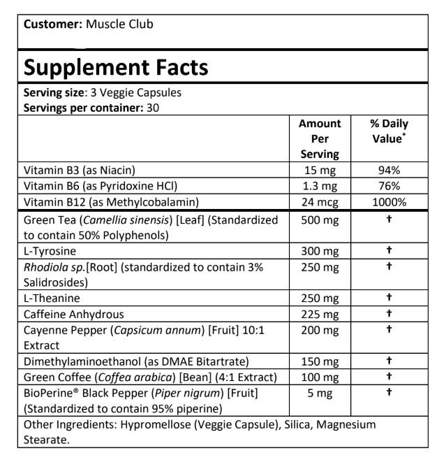 PrimeShred Powerful Ingredients